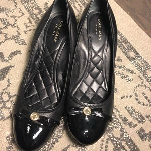 Cole Haan Black Bow Wedges 8.5